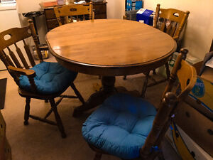 Solid wood I think Maple kitchen set and chairs - $150