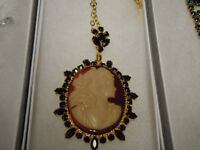 Vintage Large Cameo Necklace, Red Bohemian Crystals surround