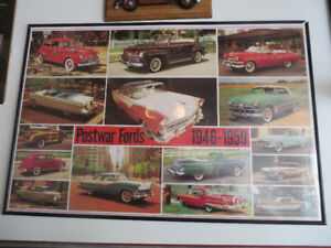3 Framed Ford Posters--50's and Rare