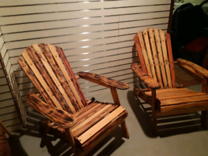 Refurbished wooden beach chairs