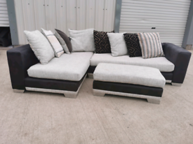 Fabric Corner sofa couch suite & footstool 🚚