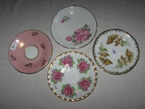BEAUTIFUL OLD ENGLISH-MADE VINTAGE BONE CHINA SAUCERS
