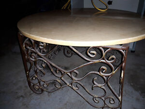 One of a Kind Forged Steel/Marble Coffee Table