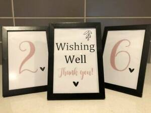 Wedding - Table Numbers and Wishing Well Signs - Picture Frames