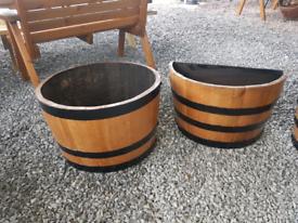 Painted half and quarter oak barrel planters