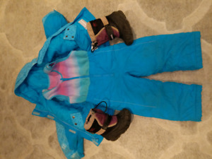 4T girls snowsuit with size 9 boots