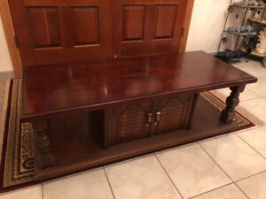 Brown Wooden Coffee Table with Cabinet