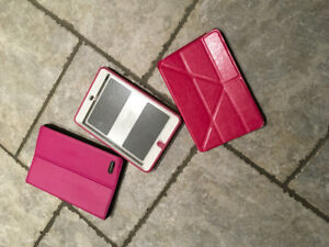 "3 unused pink 7.9"" iPad mini cases (2 flip-stand, 1 otter box)"