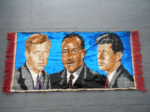 Vintage Tapis John F.  et Robert Kennedy, Martin Luther King Jr