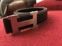 Hermes belt matte black and glossy black silver buckle 34'