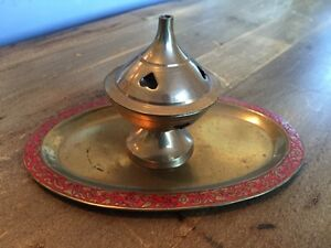 Vintage brass incense holder with tray