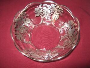 Antique Crystal Bowl with Sterling Silver Inlay