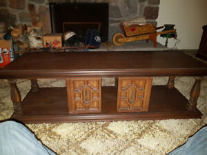 Solid Oak Coffee Table & End Table