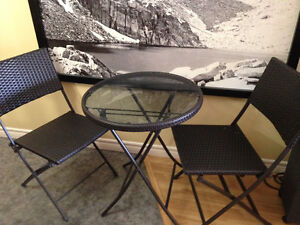 Brand new condition, smoked glass bistro set