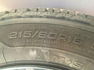 Good Year Ultragrip winter tires w/ rims 215/60/16 West Island Greater Montréal image 2