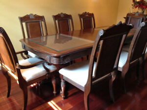 Custom solid Malaysian teak dining table with 9 chairs - $1299