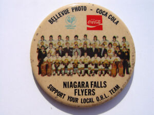 Niagara Falls Flyers 69/70 Hockey Team Coca Cola Pin Back Button
