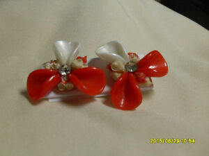 1. Vintage Clipon Earrings - Red & White petals