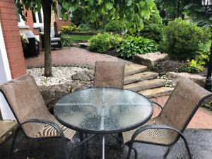 Outdoor patio table and chairs.