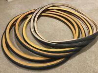 Vintage road bike tyres , 27 x 1 1/4 , Michelin world tour tyres , job lot