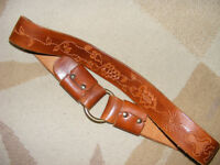 TOOLED LEATHER BELT WITH BRASS RING - 60'S OR 70'S