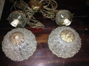 ANTIQUE Cut Glass Globe Chandelier Light Fixture