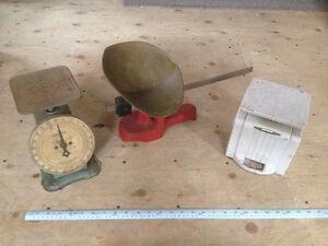 Antique spring scales, platform scale, letter scale, kitchen sca