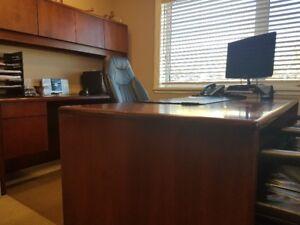 Executive desk, bookcase and credenza for sale