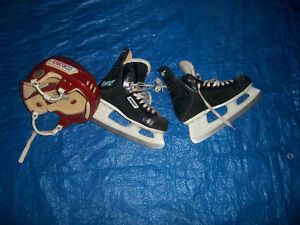 Youth Size 8 Skates with Medium Sized Helmet