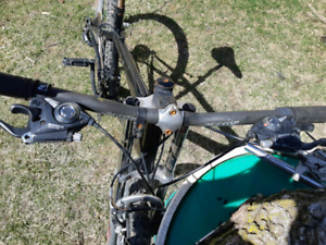 Black mountain bike with custom parts I built it with..