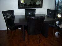 Espresso Dining Room Table with 4 Parson Chairs