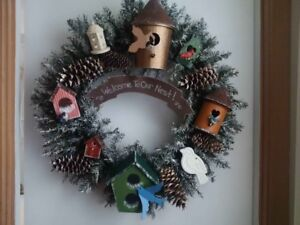 BRAND NEW HANDCRAFTED HANDPAINTED WINTER DOOR WREATH