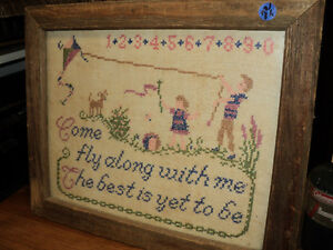 "VERY OLD NEEDLEPOINT PICTURE WITH BARBOARD FRAME 14"" x 16"" Windsor Region Ontario image 2"