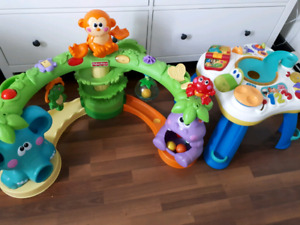 Fisher-Price  musical jungle and bright starts activity table
