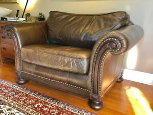 Leather chair and half, matching ottoman by Bernhardt