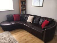Brown leather dfs corner sofa