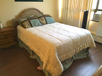 HEADBOARD, BED FRAME, AND MATTRESSES IN GREAT CONDITION