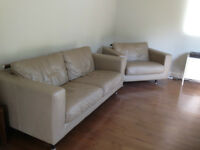 Leather Sofa and Chair/bed