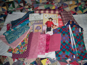 FABRIC 17 DIFFERENT DESIGNS & 2 QUILTERS BOOKS