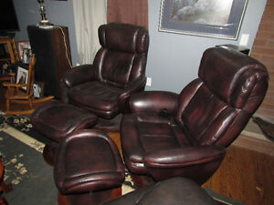 Beautiful Leather Recliners and Ottomen