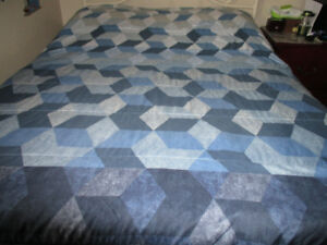 queen reversible comforter only, clean, nice blue color