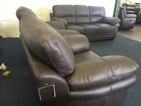 Ex Littlewoods Portland 3 piece suite three seater sofa and 2 armchairs brown leather chocolate