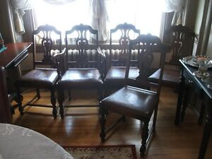 NEW PRICE-Antique, leather seat dining chairs. Rare