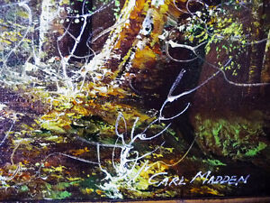 """Forest Landscape Painting by Carl Madden """"Forest Road"""" 1970's Stratford Kitchener Area image 5"""