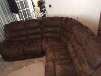 Brown curve reclined sofa Need it gone today...
