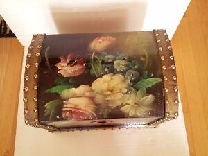 Handpainted wooden storage chest nesting box keepsake London Ontario image 2