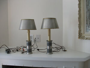 Pair of pewter candlestick lamps