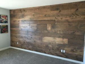 Reclaimed Wood Accent Wall and Doors Installation