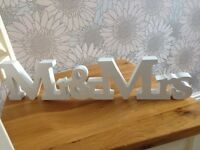 White wooden Wedding Mr & Mrs sign