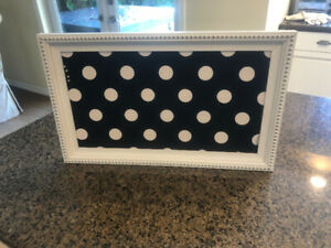 Black and White Pin board with wood frame